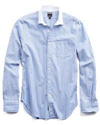 Todd Snyder | Blue Spread Collar Shirt In White Collar for Men | Lyst