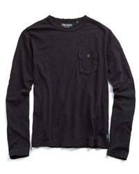 Todd Snyder - Garment Dyed Long Sleeve Pocket Tee In Jet Black for Men - Lyst