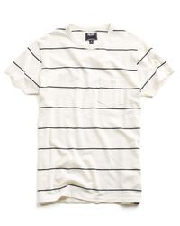 Todd Snyder - White Wide Stripe Classic Button Pocket Tee In Ecru for Men - Lyst