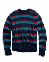 Todd Snyder - Italian Brushed Wool Multi Stripe Crewneck Sweater In Blue/red for Men - Lyst