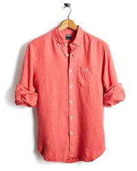 Todd Snyder - Slim Fit Linen Button-down Shirt In Nantucket Red for Men - Lyst