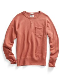 Todd Snyder - Pink Pocket Sweatshirt In Coral for Men - Lyst