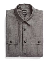 Todd Snyder - Chambray Military Shirt In Black for Men - Lyst