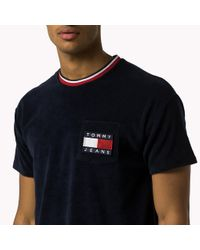 Tommy Hilfiger - Blue Cotton Terry T-shirt for Men - Lyst