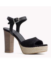 Tommy Hilfiger | Black Leather Mix Sandals | Lyst