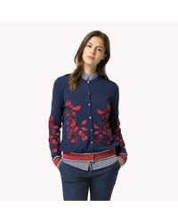 Tommy Hilfiger | Blue Wool Embroidered Cardigan | Lyst