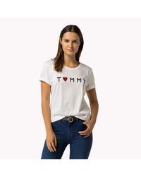 Tommy Hilfiger | White Tommy Cotton Embroidered T-shirt | Lyst