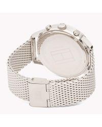 Tommy Hilfiger Metallic Mesh Chain Dark Dial Watch for men