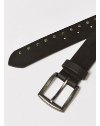 Topman - Black Slim Leather Belt Withstudded Pattern And Brushed Silver Buckle In for Men - Lyst