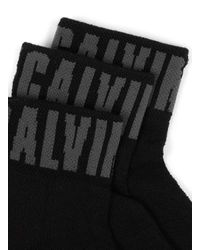 Topman - Calvin Klein Black Logo Trainer Socks 3 Pack for Men - Lyst