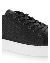 Topman - Black Faux Leather Woven Sneakers for Men - Lyst