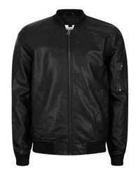 TOPMAN | Black Faux Leather Bomber Jacket for Men | Lyst