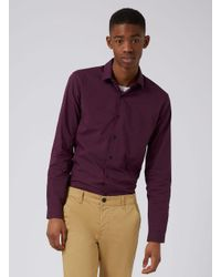 Topman - Red Burgundy And Navy Gingham Stretch Skinny Fit Dress Shirt for Men - Lyst