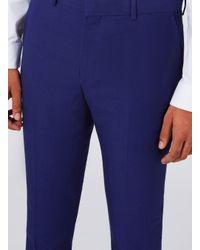 Topman Deep Blue Twill Ultra Skinny Fit Suit Pants for men
