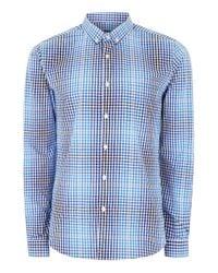 Topman - Blue Ombre Effect Gingham Long Sleeve Shirt for Men - Lyst