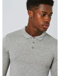 Topman - Gray Marl Knitted Pol for Men - Lyst