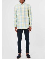 TOPMAN | Blue Summer Yellow Check Casual Shirt for Men | Lyst