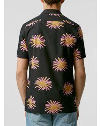 TOPMAN - Black Firework Print Short Sleeve Shirt for Men - Lyst