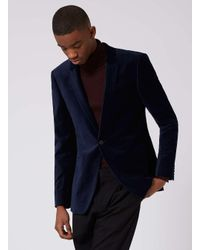 Topman - Blue Navy Velvet Skinny Fit Blazer for Men - Lyst