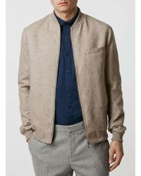 Topman - Natural Stone Wool Blend Tailored Bomber Jacket for Men - Lyst