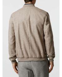 Topman | Natural Stone Wool Blend Tailored Bomber Jacket for Men | Lyst