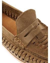 Topman | Brown Tan Suede Weaved Loafers for Men | Lyst