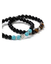Topman - Black Beaded Bracelet Pack for Men - Lyst