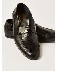 Topman - Black Patent Husky Embossed Penny Loafer for Men - Lyst