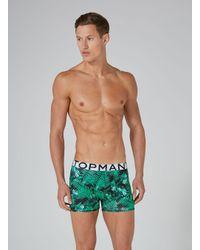 Topman - Navy And Green Jungle Trunks 3 Pack for Men - Lyst