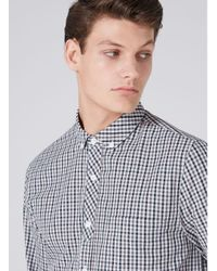 Topman - Multicolor Gingham Half Placket Shirt for Men - Lyst