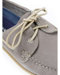 Topman   Gray Grey Leather Boat Shoes for Men   Lyst