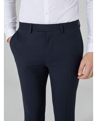 Topman - Blue Navy Textured Muscle Suit Trousers for Men - Lyst