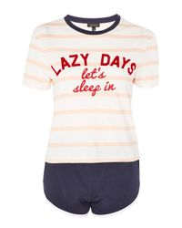 TOPSHOP - Multicolor 'lazy Days' Slogan Stripe Pyjama Set - Lyst