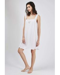 TOPSHOP | White Embroidered Night Slip | Lyst