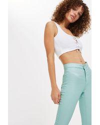 TOPSHOP - Blue Moto Mint Shimmer Joni Jeans - Lyst