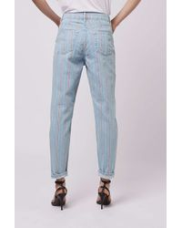 TOPSHOP - Blue Moto Summer Stripe Mom Jeans - Lyst