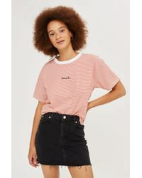 TOPSHOP - Multicolor Frayed Hem Denim Miniskirt - Lyst