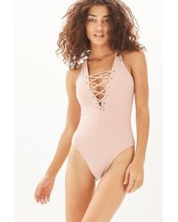 TOPSHOP - Natural Fuller Bust Eyelet Swimsuit By Wolf & Whistle - Lyst