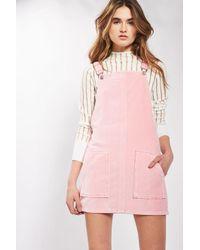 TOPSHOP - Moto Pink Velvet Pinafore Dress - Lyst