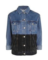 TOPSHOP | Multicolor Moto Colourbock Denim Jacket | Lyst