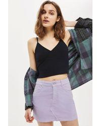 TOPSHOP   Purple Moto Velvet Mini Denim Skirt   Lyst
