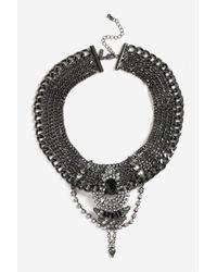 TOPSHOP - Multicolor Embellished Gunmetal Collar Necklace - Lyst