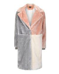 TOPSHOP | Multicolor Patchwork Faux Fur Coat | Lyst