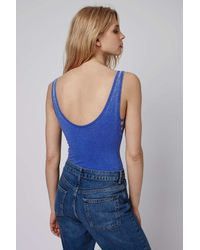 TOPSHOP - Blue Washed Jersey Body - Lyst