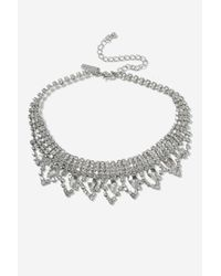 TOPSHOP | Metallic Princes Crystal Choker Necklace | Lyst