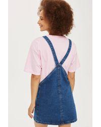 TOPSHOP Blue Bib Denim Pinafore Dress