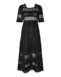 TOPSHOP - Black Crochet Panel Midi Skater Dress - Lyst