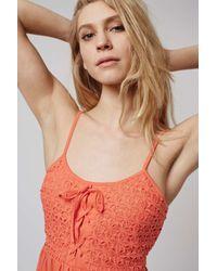 TOPSHOP - Orange Crochet Lace Sundress - Lyst