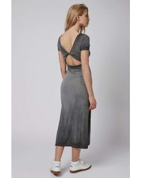 TOPSHOP - Gray Twist Back Dress - Lyst