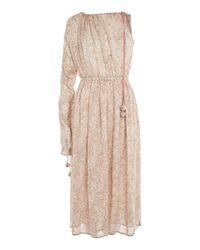 TOPSHOP | Natural One Shoulder Ruched Midi Dress | Lyst